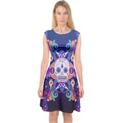Día De Los Muertos Skull Ornaments Multicolored Capsleeve Midi Dress by EDDArt