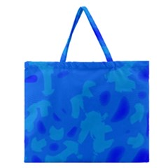 Simple Blue Zipper Large Tote Bag by Valentinaart