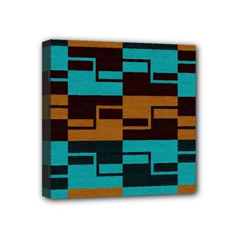 Fabric Textile Texture Gold Aqua Mini Canvas 4  X 4  by AnjaniArt