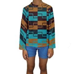 Fabric Textile Texture Gold Aqua Kids  Long Sleeve Swimwear by AnjaniArt