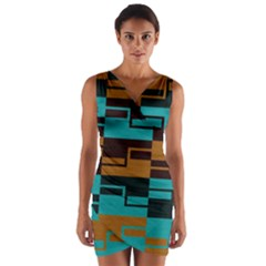 Fabric Textile Texture Gold Aqua Wrap Front Bodycon Dress by AnjaniArt