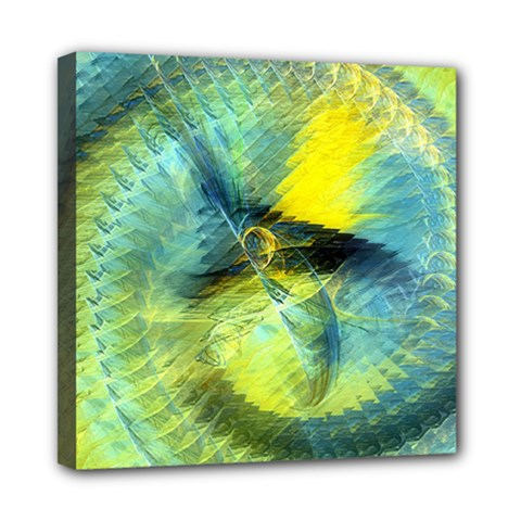 Light Blue Yellow Abstract Fractal Mini Canvas 8  X 8  by designworld65