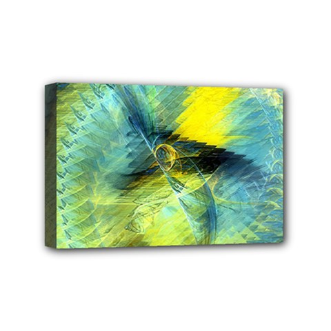 Light Blue Yellow Abstract Fractal Mini Canvas 6  X 4  by designworld65