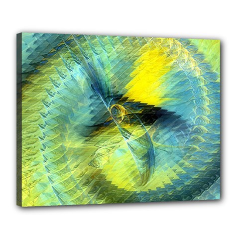 Light Blue Yellow Abstract Fractal Canvas 20  X 16  by designworld65