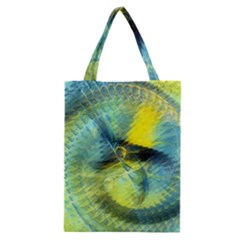 Light Blue Yellow Abstract Fractal Classic Tote Bag by designworld65