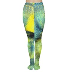 Light Blue Yellow Abstract Fractal Women s Tights by designworld65