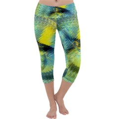 Light Blue Yellow Abstract Fractal Capri Yoga Leggings by designworld65