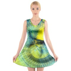 Light Blue Yellow Abstract Fractal V Neck Sleeveless Skater Dress by designworld65