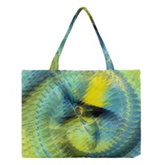 Light Blue Yellow Abstract Fractal Medium Tote Bag by designworld65