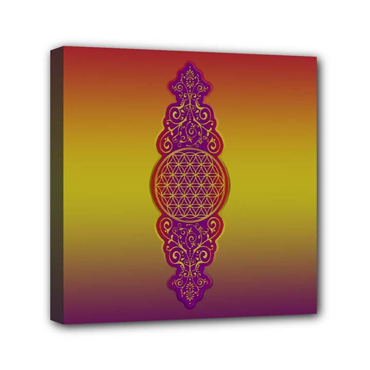 Flower Of Life Vintage Gold Ornaments Red Purple Olive Mini Canvas 6  x 6