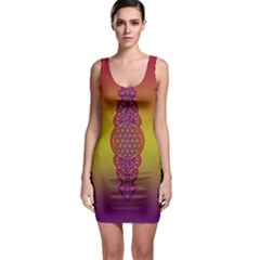 Flower Of Life Vintage Gold Ornaments Red Purple Olive Sleeveless Bodycon Dress by EDDArt