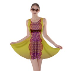 Flower Of Life Vintage Gold Ornaments Red Purple Olive Skater Dress by EDDArt