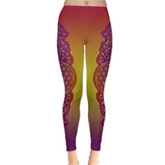 Flower Of Life Vintage Gold Ornaments Red Purple Olive Leggings  by EDDArt