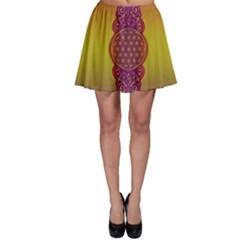 Flower Of Life Vintage Gold Ornaments Red Purple Olive Skater Skirt by EDDArt