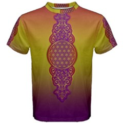 Flower Of Life Vintage Gold Ornaments Red Purple Olive Men s Cotton Tee