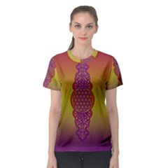 Flower Of Life Vintage Gold Ornaments Red Purple Olive Women s Sport Mesh Tee by EDDArt