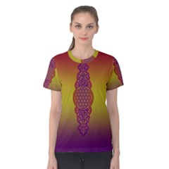 Flower Of Life Vintage Gold Ornaments Red Purple Olive Women s Cotton Tee by EDDArt