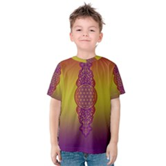 Flower Of Life Vintage Gold Ornaments Red Purple Olive Kids  Cotton Tee by EDDArt