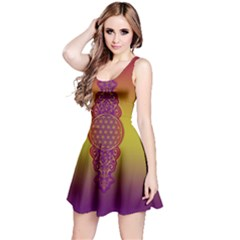 Flower Of Life Vintage Gold Ornaments Red Purple Olive Reversible Sleeveless Dress by EDDArt
