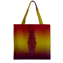 Flower Of Life Vintage Gold Ornaments Red Purple Olive Grocery Tote Bag by EDDArt