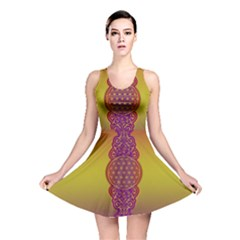 Flower Of Life Vintage Gold Ornaments Red Purple Olive Reversible Skater Dress by EDDArt