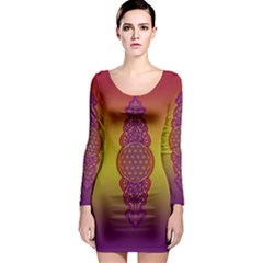 Flower Of Life Vintage Gold Ornaments Red Purple Olive Long Sleeve Bodycon Dress by EDDArt