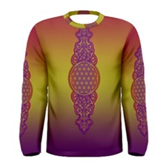 Flower Of Life Vintage Gold Ornaments Red Purple Olive Men s Long Sleeve Tee by EDDArt