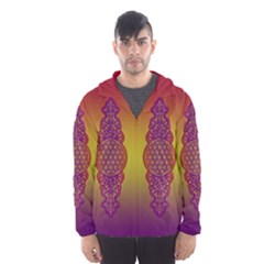 Flower Of Life Vintage Gold Ornaments Red Purple Olive Hooded Wind Breaker (men) by EDDArt