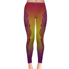 Flower Of Life Vintage Gold Ornaments Red Purple Olive Winter Leggings  by EDDArt