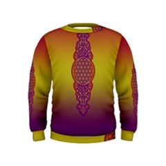 Flower Of Life Vintage Gold Ornaments Red Purple Olive Kids  Sweatshirt by EDDArt
