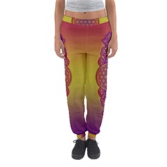 Flower Of Life Vintage Gold Ornaments Red Purple Olive Women s Jogger Sweatpants by EDDArt