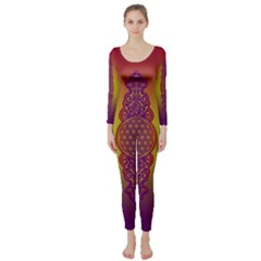 Flower Of Life Vintage Gold Ornaments Red Purple Olive Long Sleeve Catsuit by EDDArt