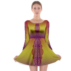Flower Of Life Vintage Gold Ornaments Red Purple Olive Long Sleeve Skater Dress by EDDArt