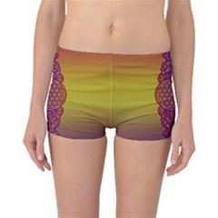 Flower Of Life Vintage Gold Ornaments Red Purple Olive Boyleg Bikini Bottoms by EDDArt