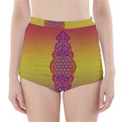 Flower Of Life Vintage Gold Ornaments Red Purple Olive High Waisted Bikini Bottoms by EDDArt