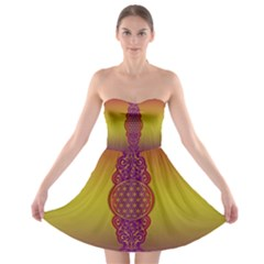 Flower Of Life Vintage Gold Ornaments Red Purple Olive Strapless Bra Top Dress by EDDArt