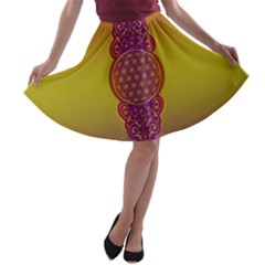 Flower Of Life Vintage Gold Ornaments Red Purple Olive A Line Skater Skirt by EDDArt