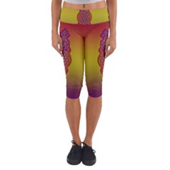 Flower Of Life Vintage Gold Ornaments Red Purple Olive Capri Yoga Leggings by EDDArt