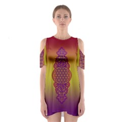 Flower Of Life Vintage Gold Ornaments Red Purple Olive Cutout Shoulder Dress by EDDArt