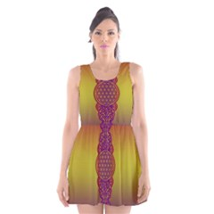 Flower Of Life Vintage Gold Ornaments Red Purple Olive Scoop Neck Skater Dress by EDDArt