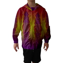 Flower Of Life Vintage Gold Ornaments Red Purple Olive Hooded Wind Breaker (kids) by EDDArt