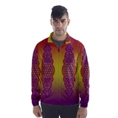 Flower Of Life Vintage Gold Ornaments Red Purple Olive Wind Breaker (men) by EDDArt