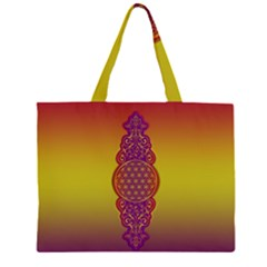 Flower Of Life Vintage Gold Ornaments Red Purple Olive Zipper Large Tote Bag by EDDArt