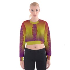 Flower Of Life Vintage Gold Ornaments Red Purple Olive Women s Cropped Sweatshirt by EDDArt