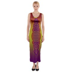 Flower Of Life Vintage Gold Ornaments Red Purple Olive Fitted Maxi Dress by EDDArt