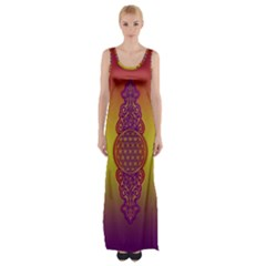 Flower Of Life Vintage Gold Ornaments Red Purple Olive Maxi Thigh Split Dress by EDDArt