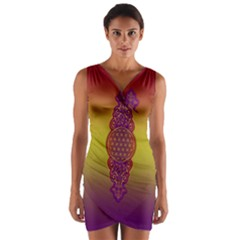 Flower Of Life Vintage Gold Ornaments Red Purple Olive Wrap Front Bodycon Dress by EDDArt