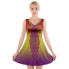 Flower Of Life Vintage Gold Ornaments Red Purple Olive V Neck Sleeveless Skater Dress by EDDArt