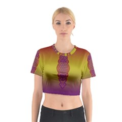 Flower Of Life Vintage Gold Ornaments Red Purple Olive Cotton Crop Top by EDDArt