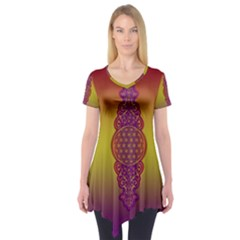 Flower Of Life Vintage Gold Ornaments Red Purple Olive Short Sleeve Tunic  by EDDArt